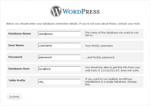 wordpress inserimento paramentri db